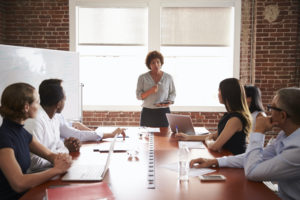 Mature Businesswoman Addressing Boardroom Meeting